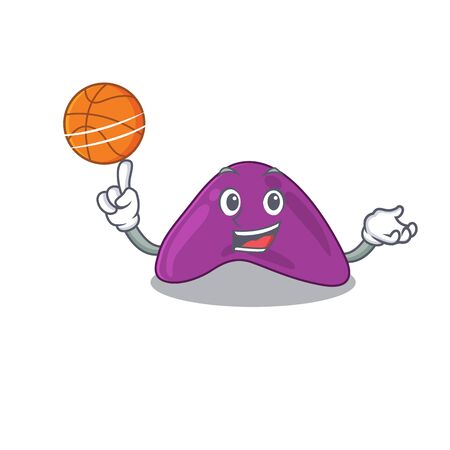 Sporty cartoon mascot design of adrenal with basketball