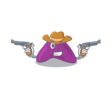 Cartoon character cowboy of adrenal with guns