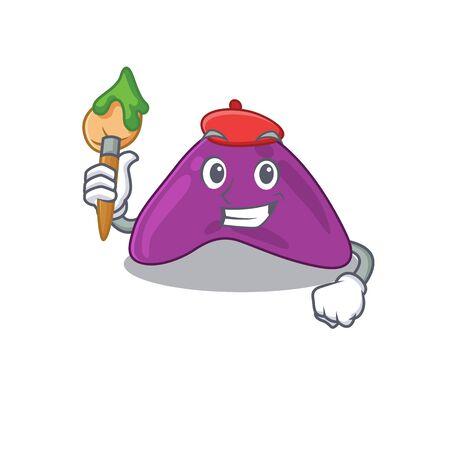 An artistic adrenal artist mascot design paint using a brush
