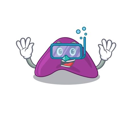 Adrenal mascot design swims with diving glasses