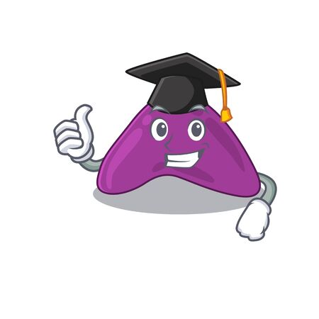 Happy proud of adrenal caricature design with hat for graduation ceremony. Vector illustration