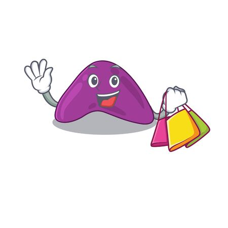 wealthy adrenal cartoon character with shopping bags