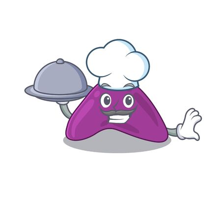 mascot design of adrenal chef serving food on tray. Vector illustration