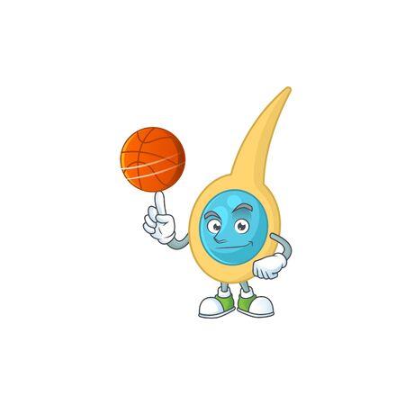 An sporty clostridium tetani mascot design style playing basketball on league