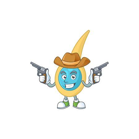 A masculine cowboy cartoon drawing of clostridium tetani holding guns