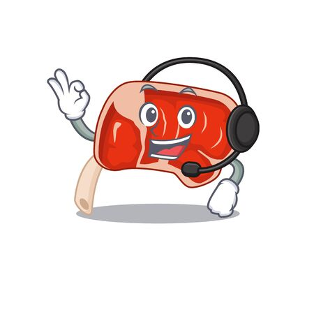 A stunning prime rib mascot character concept wearing headphone. Vector illustration
