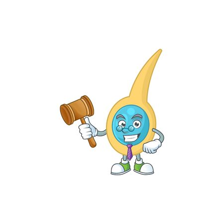A wise Judge clostridium tetani cartoon mascot design wearing glasses