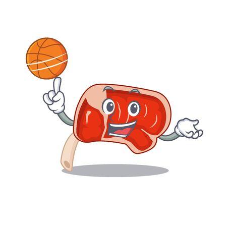Sporty cartoon mascot design of prime rib with basketball. Vector illustration