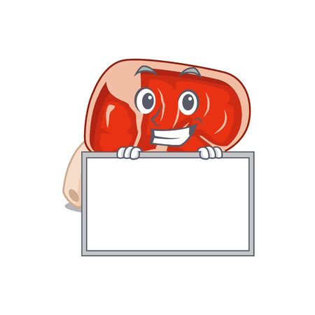 Prime rib cartoon design style standing behind a board. Vector illustration