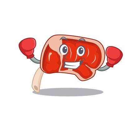 Mascot design of prime rib as a sporty boxing athlete. Vector illustration Ilustração