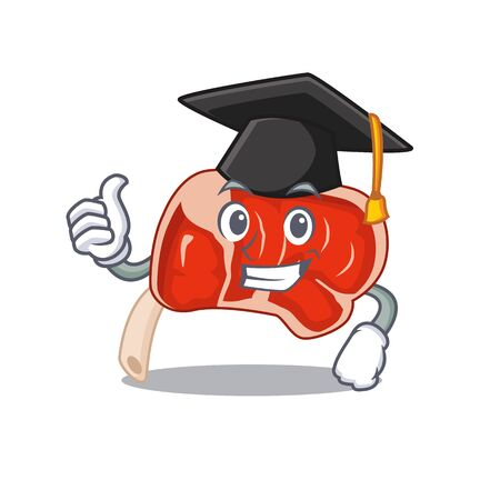 Happy proud of prime rib caricature design with hat for graduation ceremony. Vector illustration