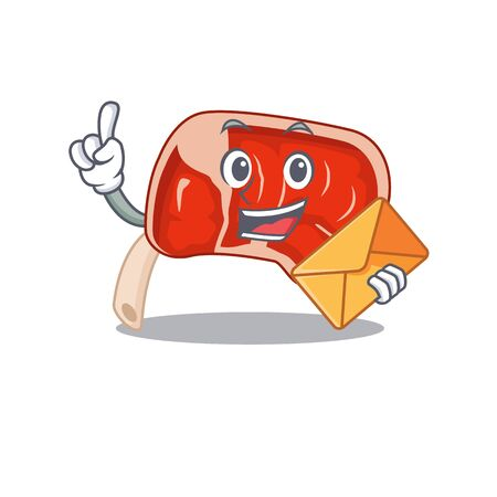 A picture of cheerful prime rib cartoon design with brown envelope. Vector illustration