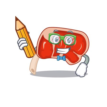 A clever student prime rib cartoon character study at home. Vector illustration
