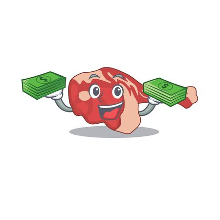 A wealthy leg of lamb cartoon character with much money. Vector illustration 向量圖像