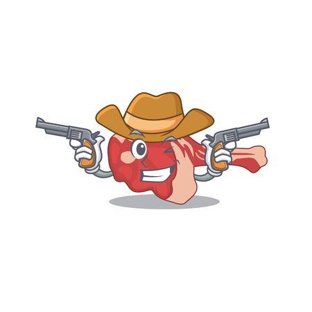 Cartoon character cowboy of leg of lamb with guns. Vector illustration
