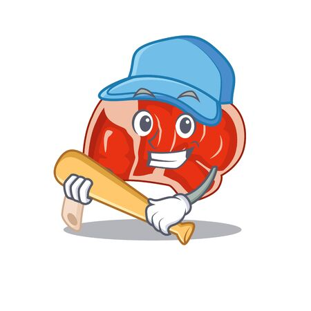 Attractive prime rib caricature character playing baseball. Vector illustration Ilustração
