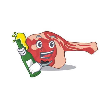 caricature design concept of leg of lamb cheers with bottle of beer. Vector illustration