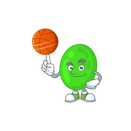 An sporty cocci mascot design style playing basketball on league. Vector illustration