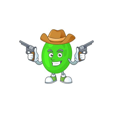 A masculine cowboy cartoon drawing of cocci holding guns. Vector illustration