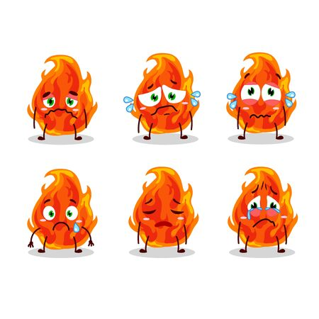 Fire cartoon with character with sad expression Vecteurs