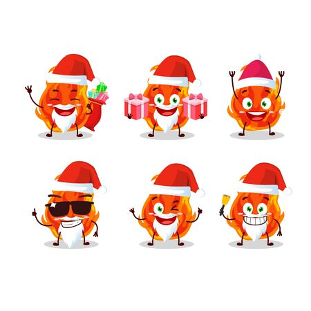 Santa Claus emoticons with fire cartoon character