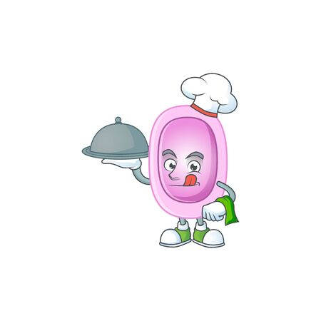 A pertussis chef cartoon mascot design with hat and tray. illustration