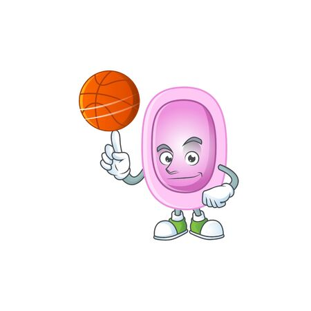 An sporty pertussis mascot design style playing basketball on league. illustration