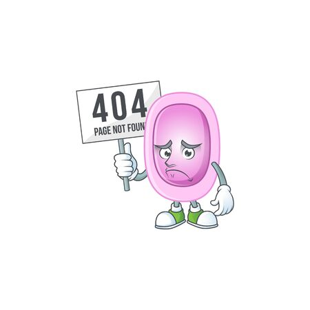 gloomy face of pertussis cartoon character with 404 boards. illustration