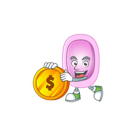 cartoon picture of pertussis rich character with a big gold coin. Vector illustration Ilustração