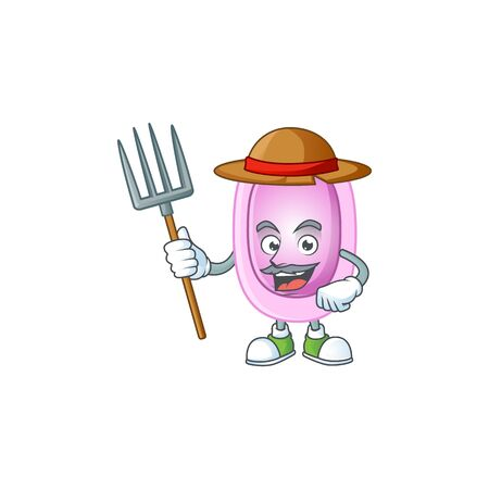 Caricature picture of Farmer pertussis with hat and pitchfork. illustration
