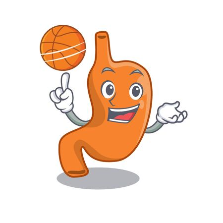 Sporty cartoon mascot design of stomach with basketball Illustration