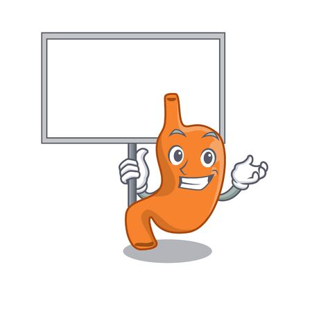 Cartoon picture of stomach mascot design style carries a board