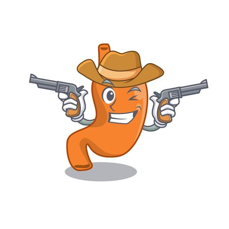 Cartoon character cowboy of stomach with guns