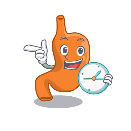 mascot design style of stomach standing with holding a clock