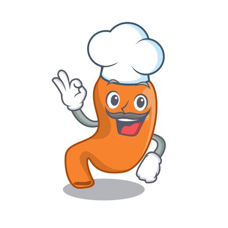 Talented stomach chef cartoon drawing wearing chef hat