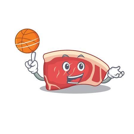 Sporty cartoon mascot design of sirloin with basketball