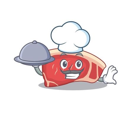 mascot design of sirloin chef serving food on tray