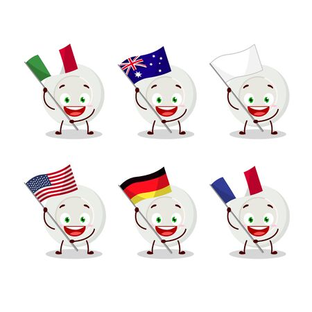 plate angry expression cartoon character bring the flags of various countries Vettoriali