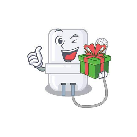 joyful electric water heater cartoon character with a big gift box