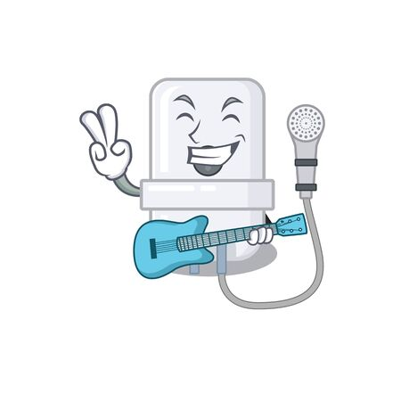brilliant musician of electric water heater cartoon design playing music with a guitar Ilustração