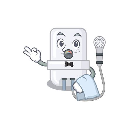 A cartoon picture of electric water heater waiter with a white napkin