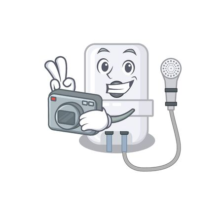 a professional photographer electric water heater cartoon picture working with camera