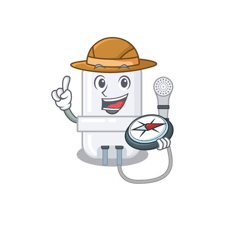 mascot design concept of electric water heater explorer using a compass in the forest