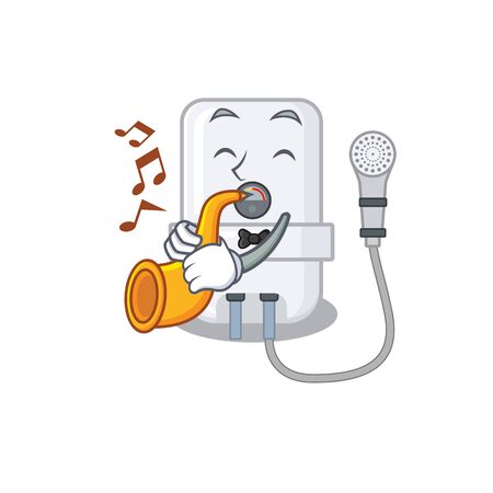 electric water heater musician of cartoon design playing a trumpet