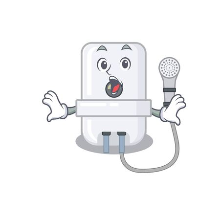 electric water heater mascot design concept having a surprised gesture Ilustração
