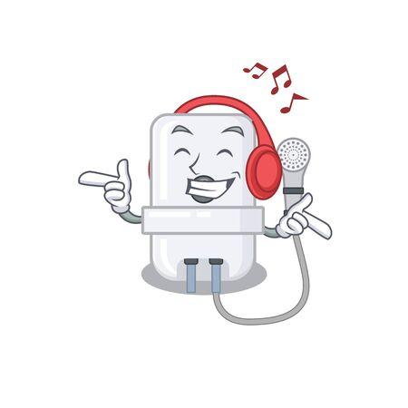 electric water heater Cartoon design concept listening music on headphone Ilustração