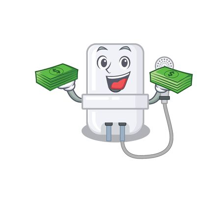 A wealthy electric water heater cartoon character with much money