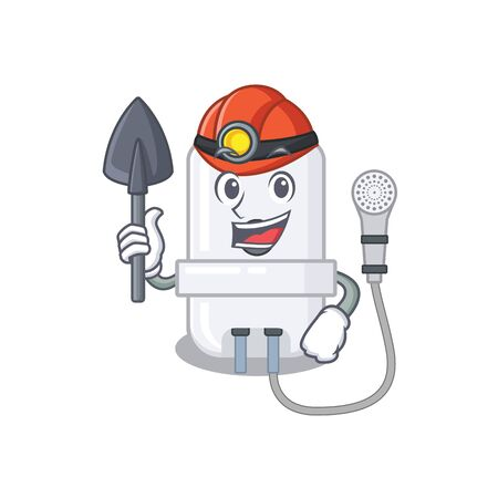 A cartoon picture of electric water heater miner with tool and helmet