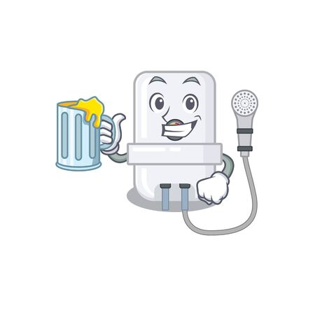 A cartoon concept of electric water heater with a glass of beer Фото со стока - 147414015