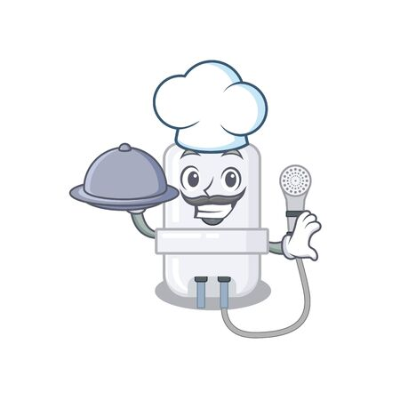 mascot design of electric water heater chef serving food on tray Illustration